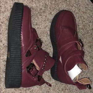 Cute burgundy platform shoes